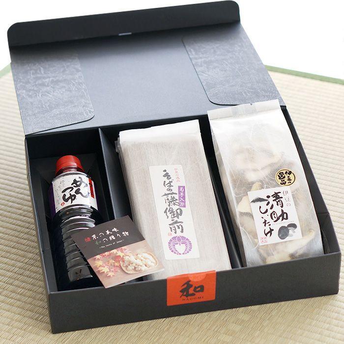 菊芋入り 蕎麦の藤御膳セット(蕎麦4袋・麺つゆ・乾燥シイタケ)